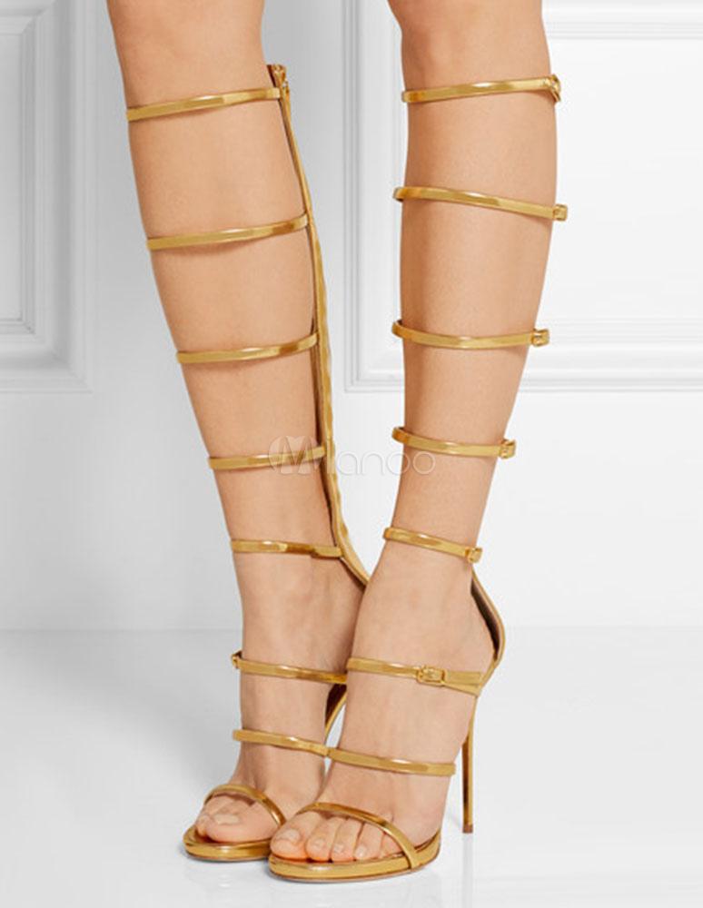 Frauen High Stiefel Zehenoffenen Heel Gladiator Gold Schnallen Reißverschluss XiTuOZkP