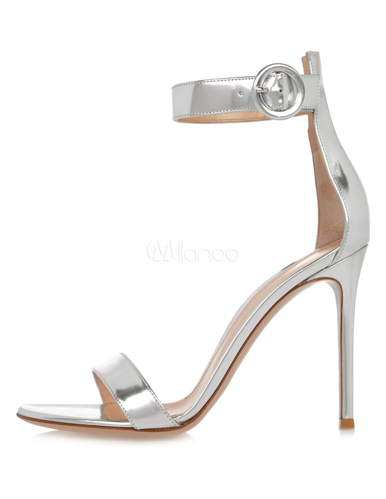 Buy Silver Bridal Sandals High Heel Prom Shoes Open Toe Stiletto Ankle Strap Evening Shoes for $58.89 in Milanoo store