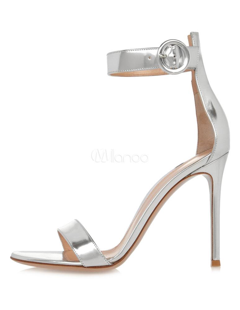 Scarpe Argento Sposa.Sandali Da Sposa Argento Con Tacco Alto Scarpe Con Tacco A Spillo