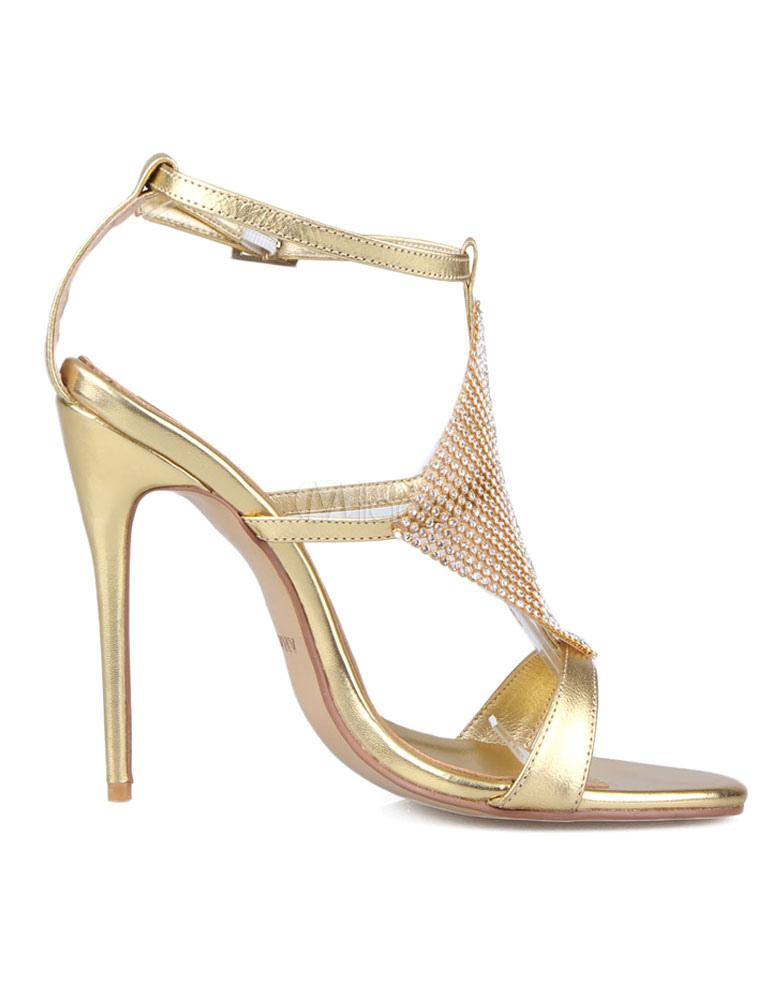 Goldene Hochzeit Schuhe Sexy High Heel Sandalen Strass Ankle Strap Brautschuhe