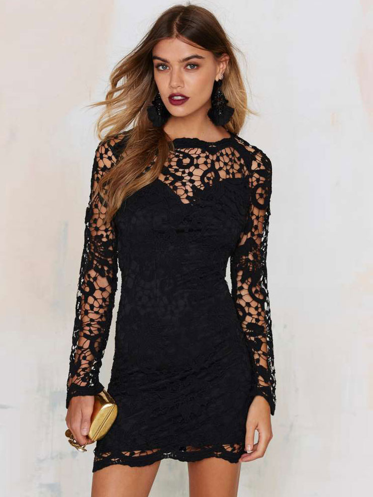 Black Lace Dress Sexy Chic Illusion Long Sleeve Backless Slim Fit Short Dress