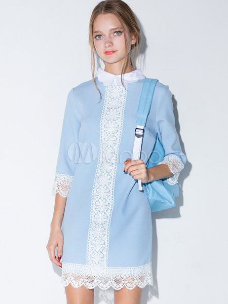 Blue Lace Dress Embellished Collar 3/4-length Sleeve Short Dress For Women
