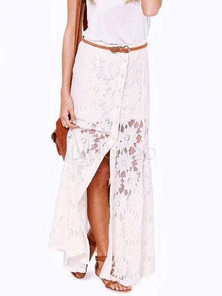 White Lace Skirt Button Front Split Long Skirt For Women