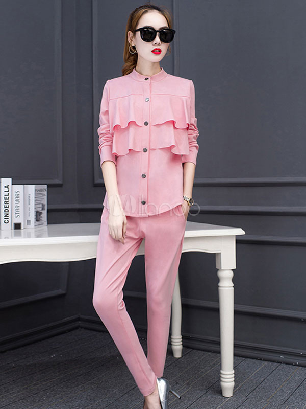 f8b8eac8557 Women's 2-Piece Outfit Pink Ruffle Long Sleeve Tiered Blouses With Long  Pants- ...