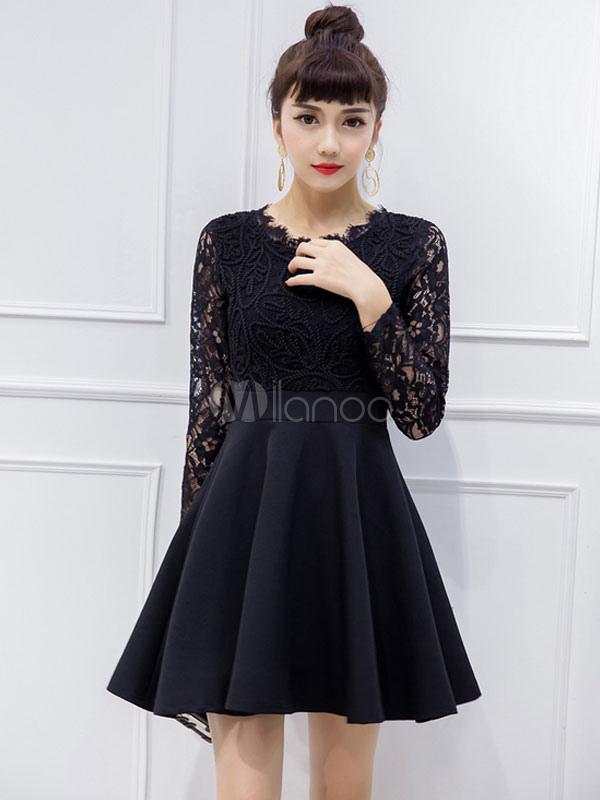 Schwarze Spitze Kleid Sexy semitransparente Langarm Plissee kurzes ...