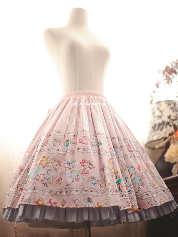 Buy Sweet Lolita Dress Cute Pink Cotton Cat Printed Ruffle Lolita Skirt With Bow for $89.29 in Milanoo store