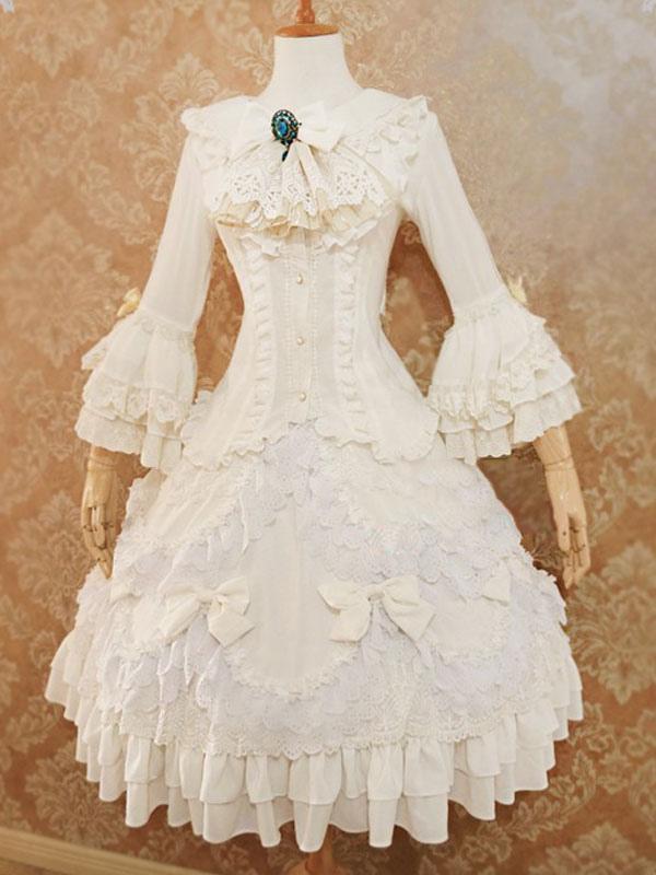 Lolita Wedding Dress 2-piece Set Lolita Outfit Chiffon Lace Ruffled ...