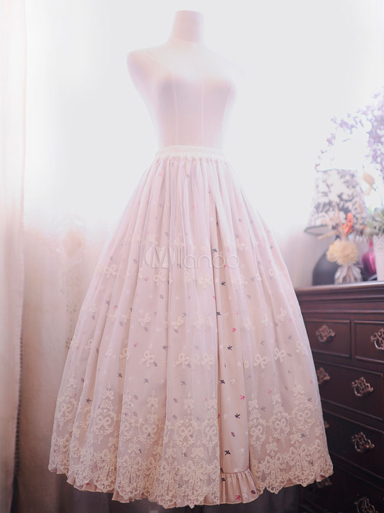 Buy Classic Lolita Dress Lace Bows Printed Elsa Apricot Long Lolita Skirt for $84.59 in Milanoo store