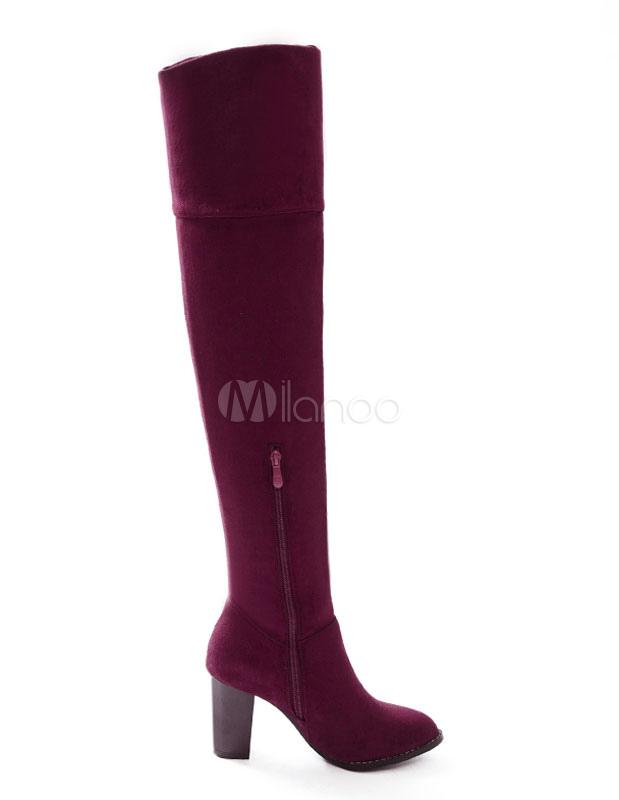 Botas sobre la rodilla de cuero sintético Color liso estilo moderno GlUcctP0CJ
