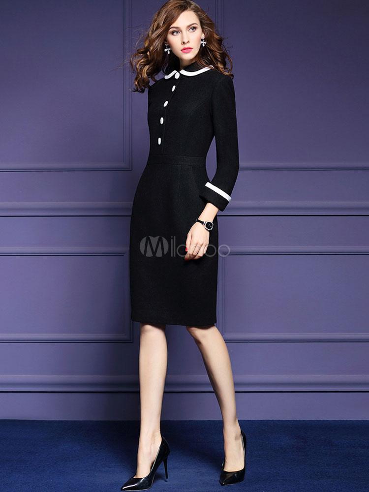 De manga larga vestido plisado elegante largo Bodycon vestido cuello ...