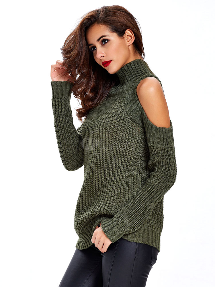 2ed500032141 Suéter de punto abierto hombro manga larga cuello alto Jersey verde mujeres  suéter-No.