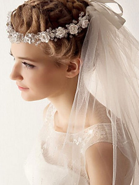 Ivory Wedding Veil Tulle 1-Tier Cut Edge Bridal Veil With Flower Crown
