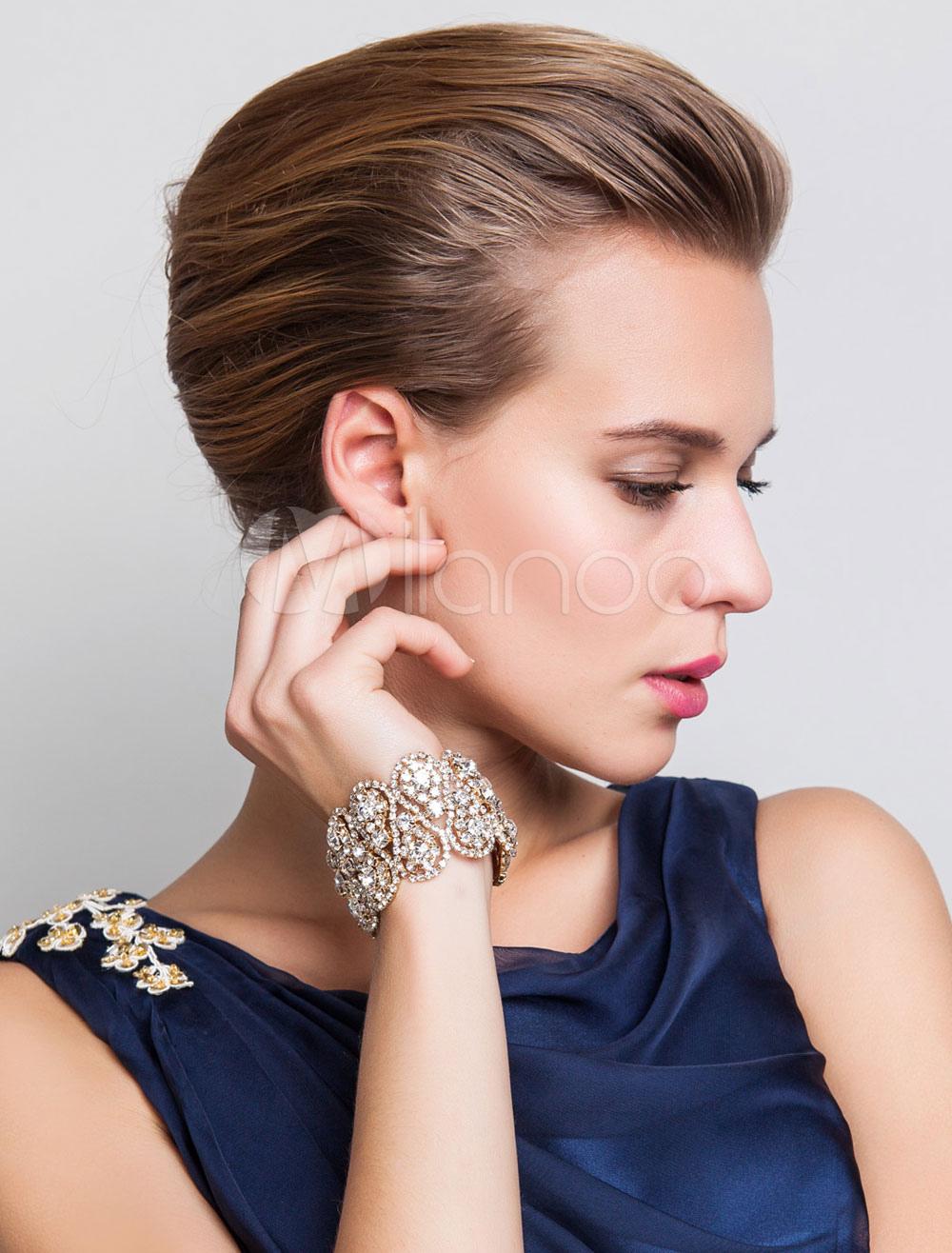 Gold Wedding Bracelet Rhinestone Alloy Fashion Bridal Bracelet