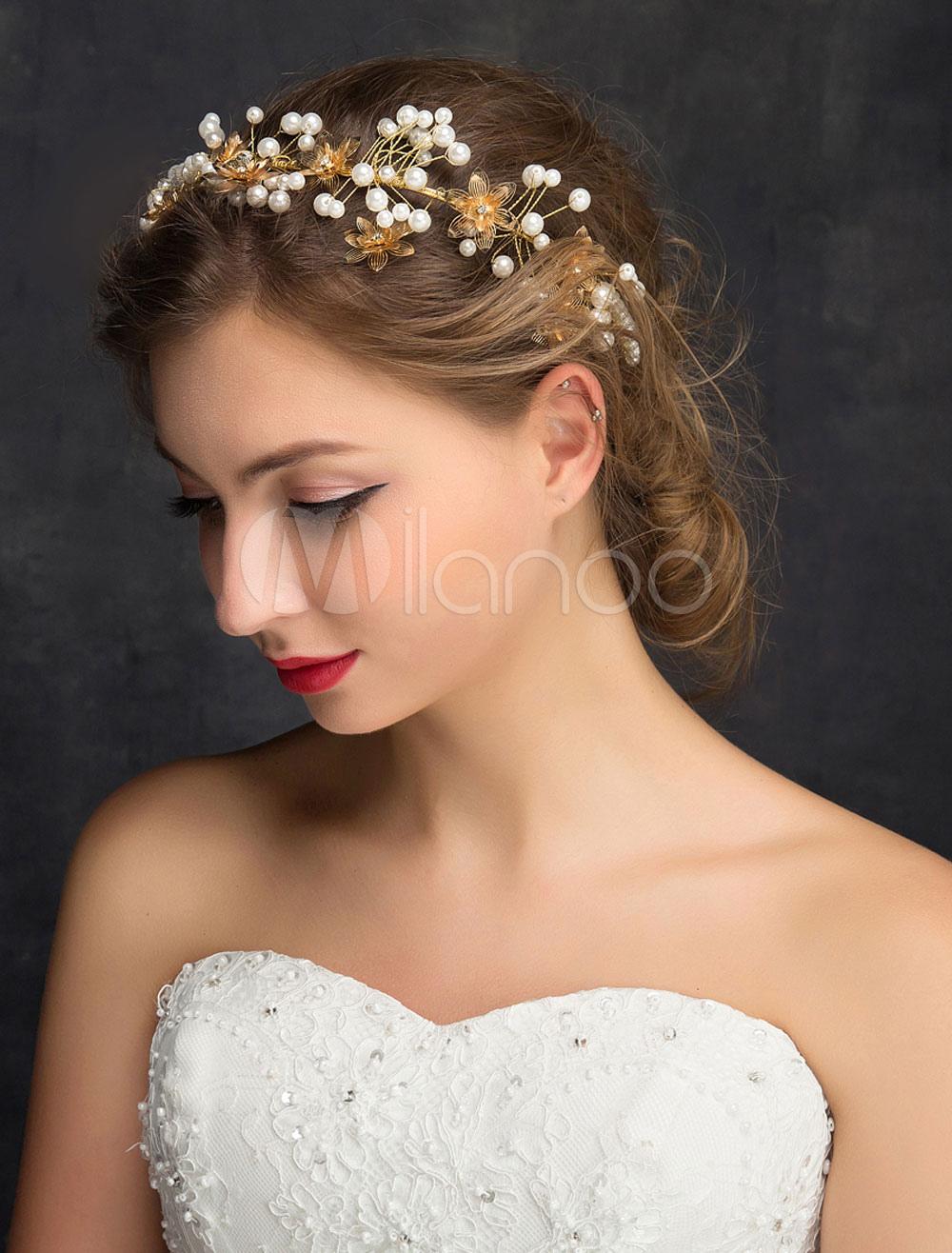 Goldene Hochzeit Stirnband Imitation Perlen Strass Alloy Braut Haarschmuck
