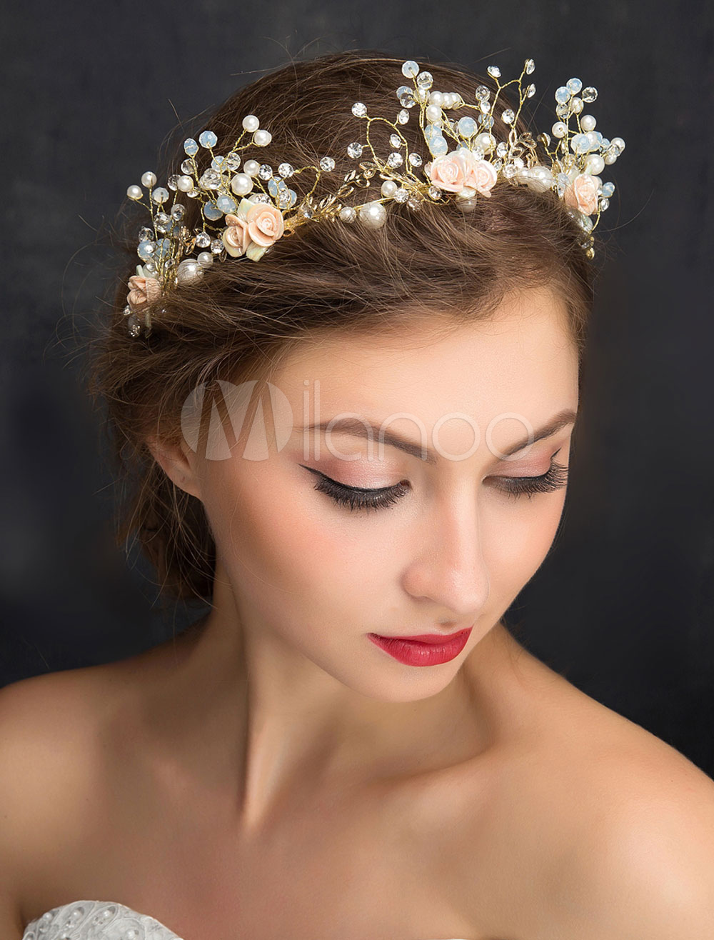 Wedding Hair Headband Gold Rhinestone Imitation Pearls Bridal Headpiece