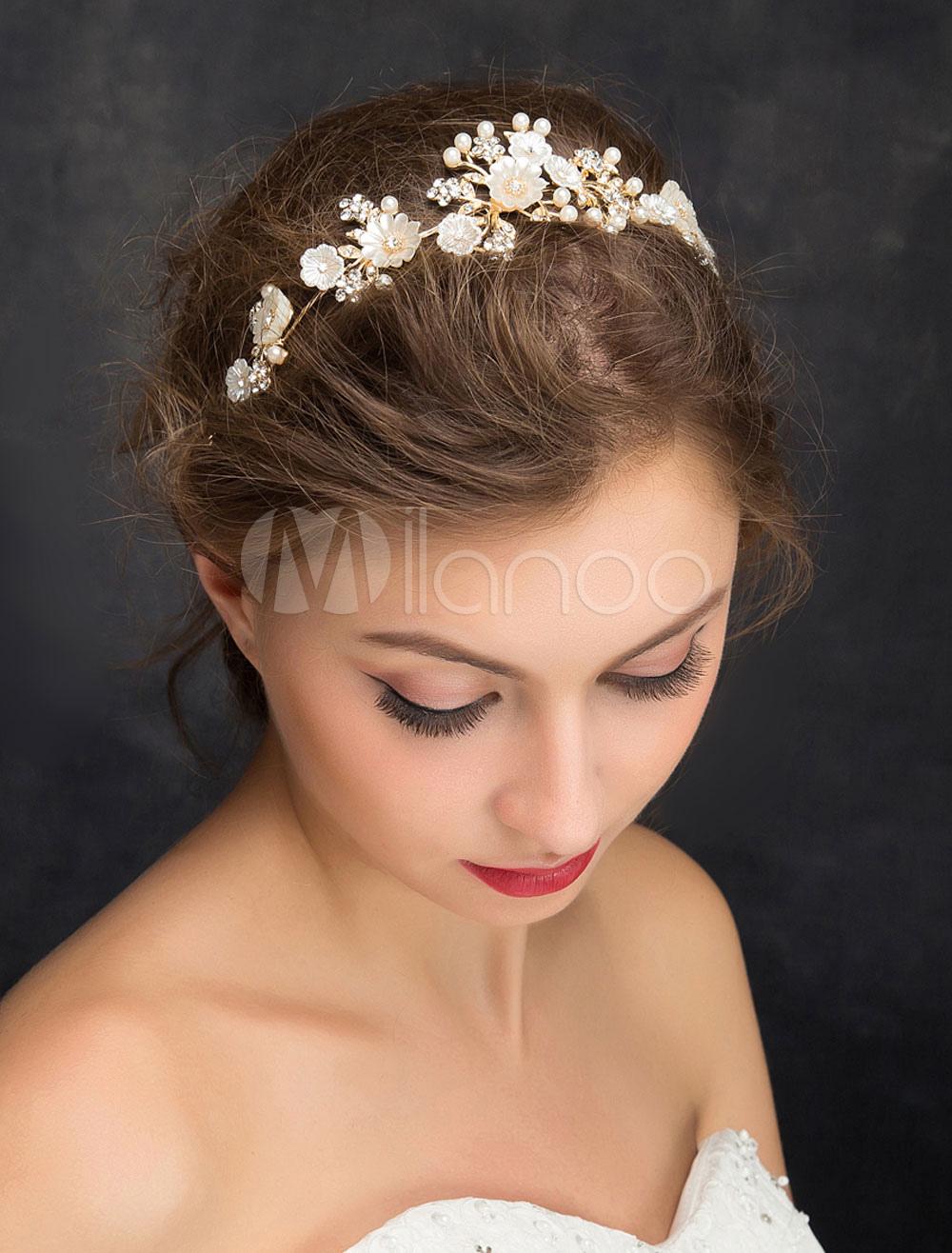 Wedding Hair Headband Gold Imitation Pearls Flowers Zirconia Bridal Headpiece