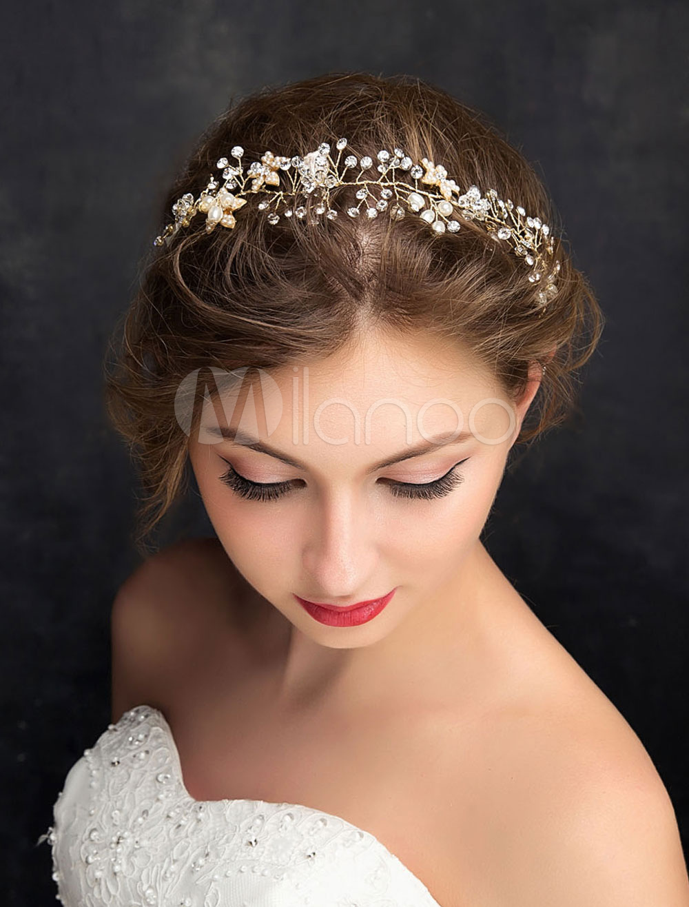 Buy Wedding Hair Headband Silver Imitation Pearls Rhinestones Alloy Bridal Hair Accessories for $21.59 in Milanoo store