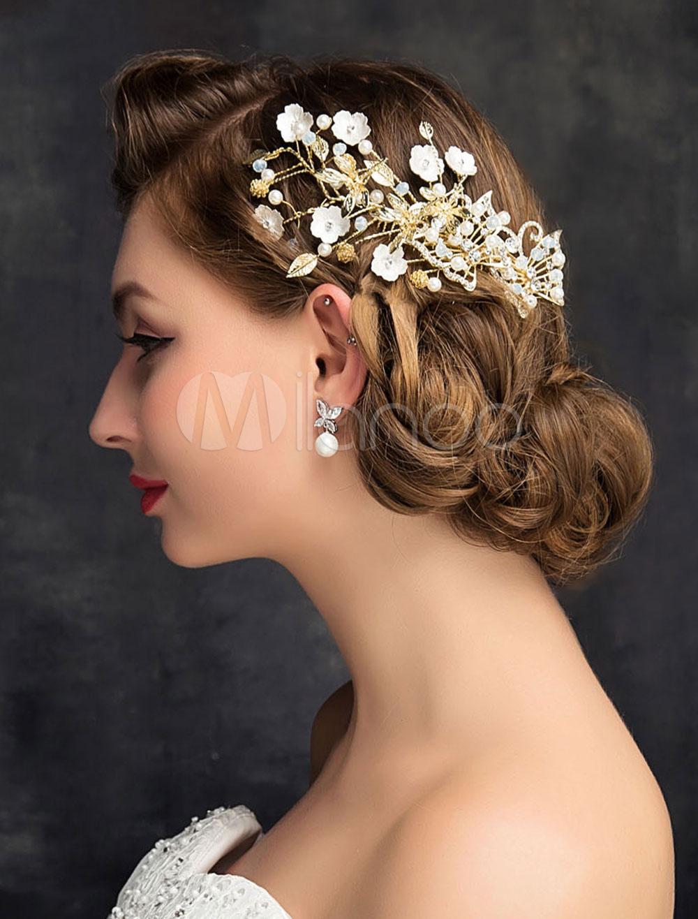 Buy Wedding Hair Accessories Comb Rhinestones Imitation Pearls Alloy Bridal Headpiece for $15.99 in Milanoo store