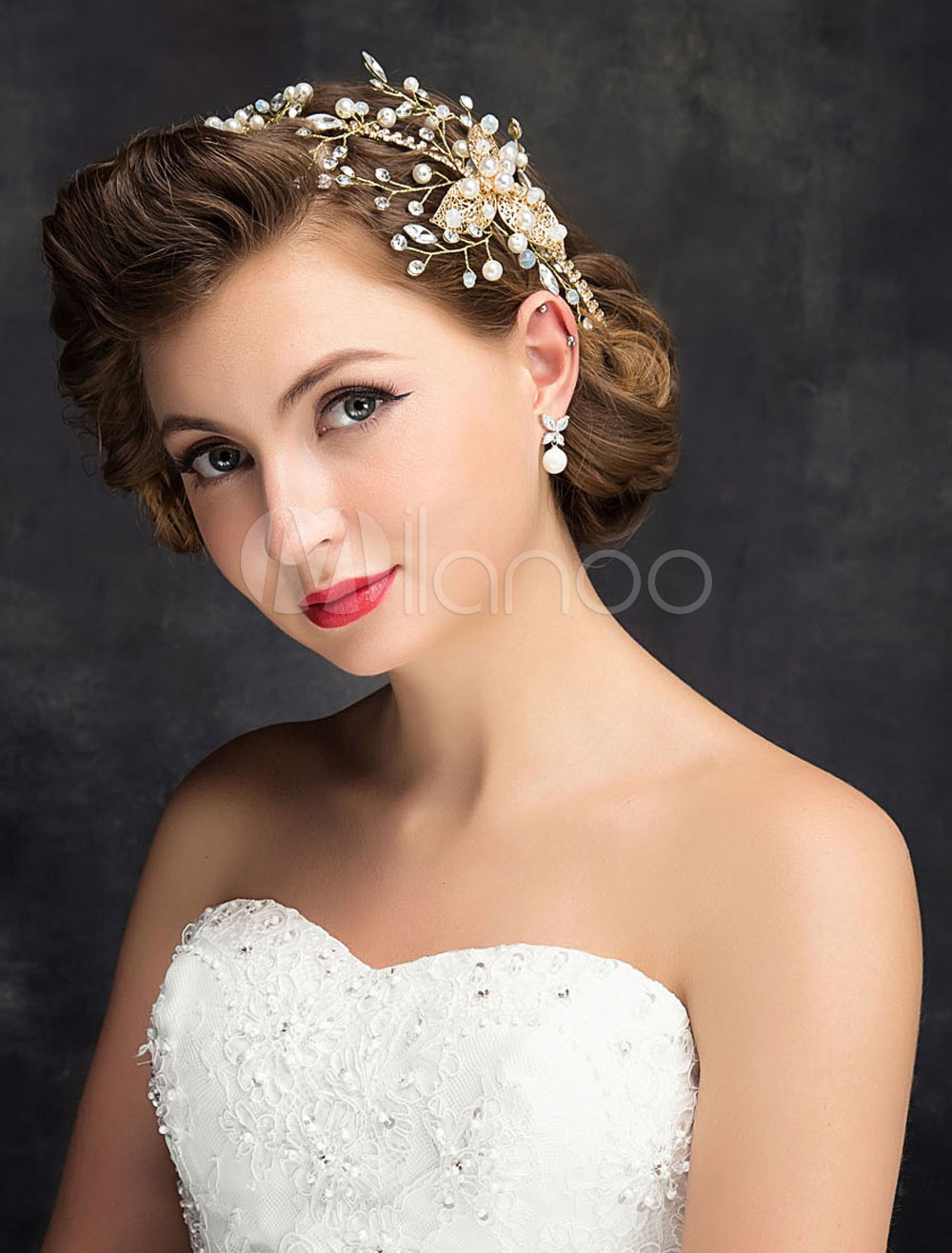 Buy Gold Wedding Headpieces Rhinestones Pearls Alloy Bridal Hair Accessories for $15.99 in Milanoo store