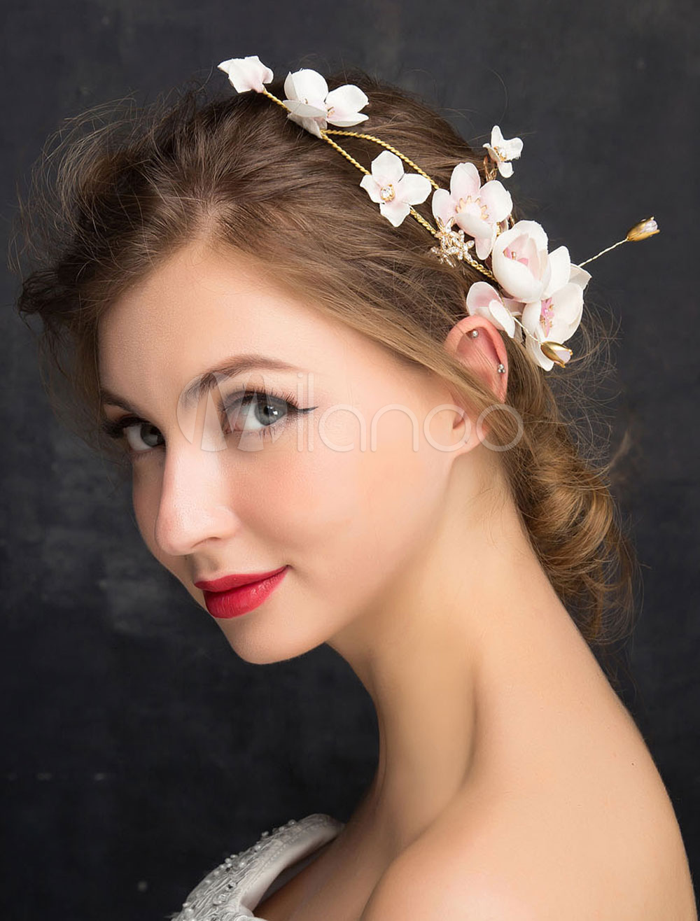 Wedding Hair Accessories Gold Rhinestones Flower Bridal Hair Clips