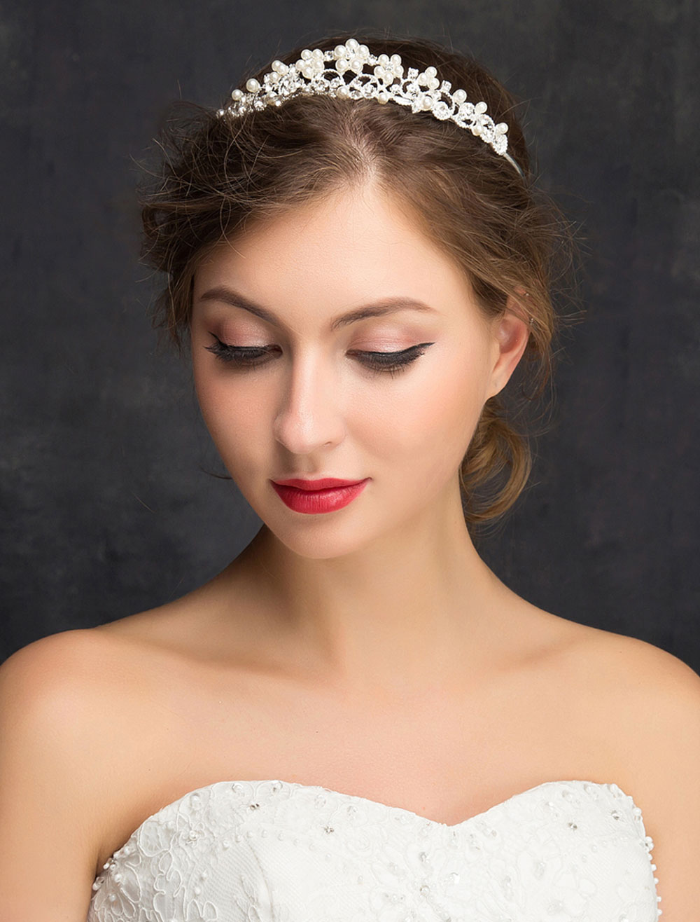 Buy Wedding Hair Headband Silver Imitation Pearls Rhinestones Alloy Bridal Hair Accessories for $14.99 in Milanoo store