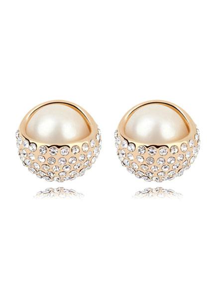 Buy Vintage Wedding Earrings Gold Round Alloy Pierced Stud Bridal Earrings for $9.99 in Milanoo store