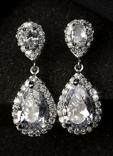 Drop Wedding Earrings White Zirconia Pierced Bridal Earrings Jewelry