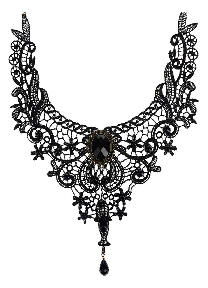 Buy Gothic Lolita Necklace Black Lace Cut Out Heart And Flower Lolita Choker Collar for $3.99 in Milanoo store