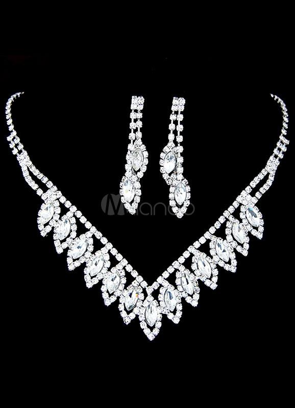 Buy Silver Wedding Jewelry Set Bridal Rhinestone Pierced Round Brilliant Earrings And Necklace for $9.99 in Milanoo store