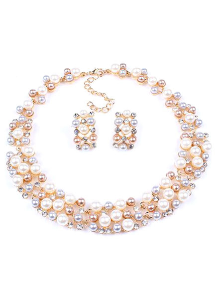 Pearl Necklace Set Bridal Multi Strand Short Pearl Jewelry