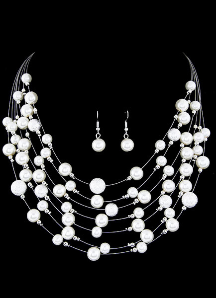 Buy Pearl Vintage Necklace Earring Set White Layered Wedding Jewelry Set for $6.99 in Milanoo store