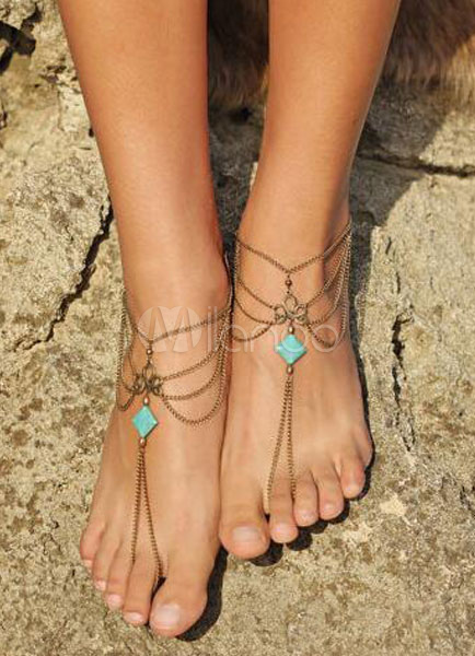 Buy Beach Wedding Footwear Silver Beach Anklets Layered Chain Beach Wedding Shoes for $6.29 in Milanoo store