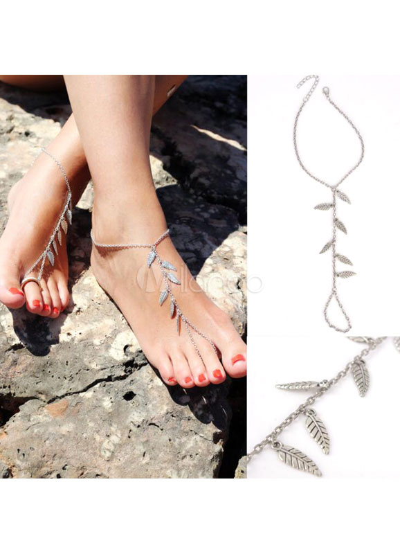 Beach Wedding Footwear Silver Wedding Anklets Leaf Beach Wedding Shoes