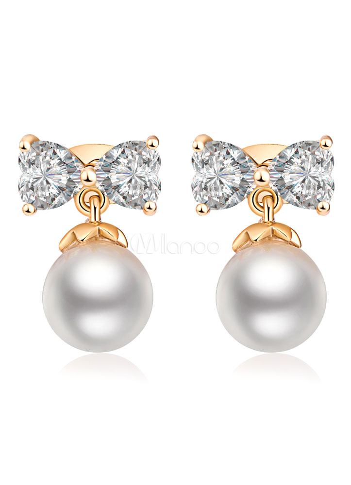Pearl Drop Earrings Wedding White Bow Zirconia Bridal Jewelry