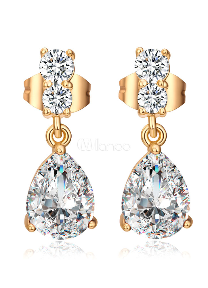 Buy Wedding Drop Earrings White Zirconia Princess Bridal Jewelry for $3.99 in Milanoo store
