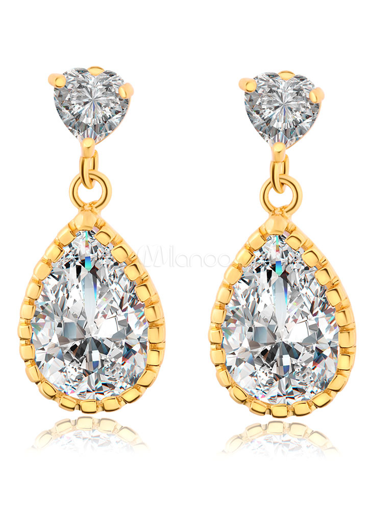 Buy Wedding Drop Earrings Cubic Zirconia White Princess Bridal Jewelry for $4.99 in Milanoo store