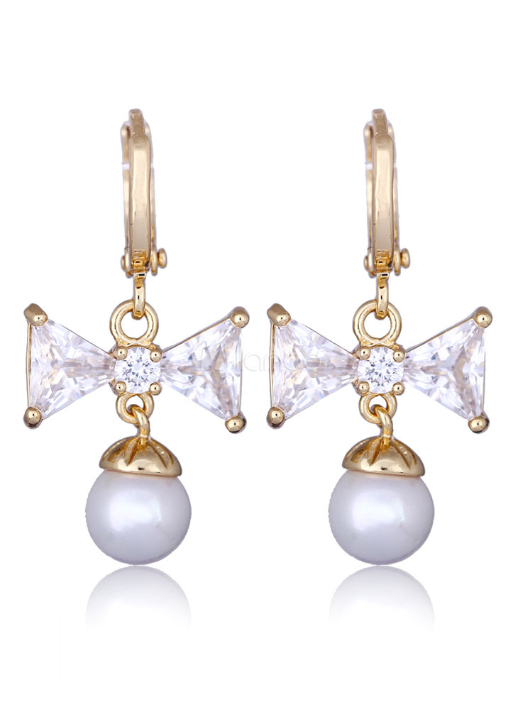 Buy Pearl Drop Earrings Wedding Cubic Zirconia White Bows Dangle Earrings for $4.99 in Milanoo store