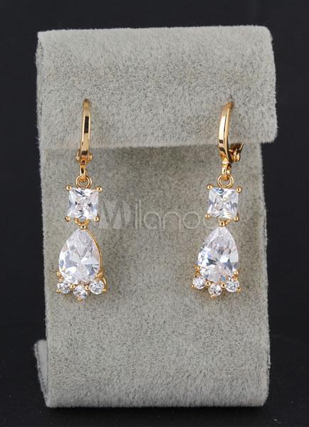 Buy Bridal Drop Earrings Cubic Zirconia White Princess Dangle Earrings for $4.99 in Milanoo store