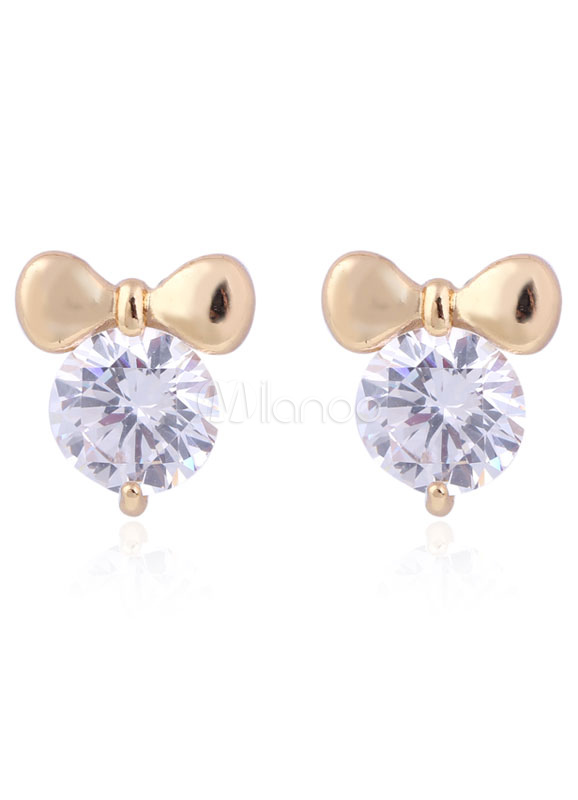 Buy Wedding Stud Earrings Cubic Zirconia White Bows Bridal Jewelry for $3.49 in Milanoo store