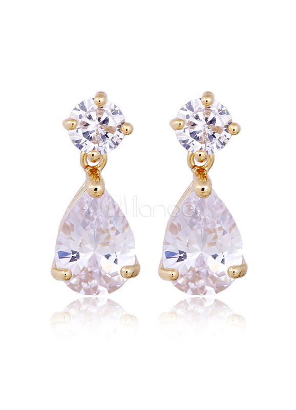 Buy Wedding Drop Earrings Cubic Zirconia Princess White Bridal Jewelry for $4.49 in Milanoo store