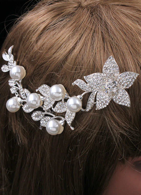 Buy Wedding Hair Combs Imitation Pearls Rhinestones Long Bridal Hair Accessories for $14.99 in Milanoo store