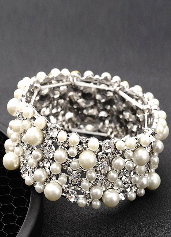 Buy Pearl Wedding Bracelet White Vintage Layered Rhinestone Bridal Jewelry for $19.99 in Milanoo store