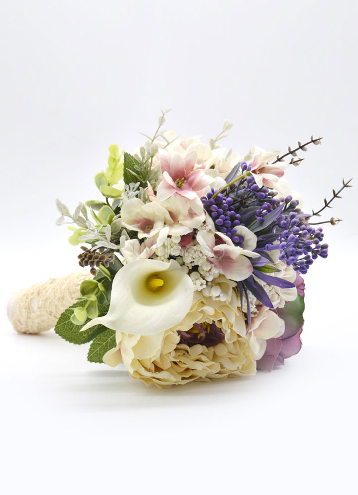 Wedding Bridal Bouquet Lace Hand Tied Colorful Silk Flowers