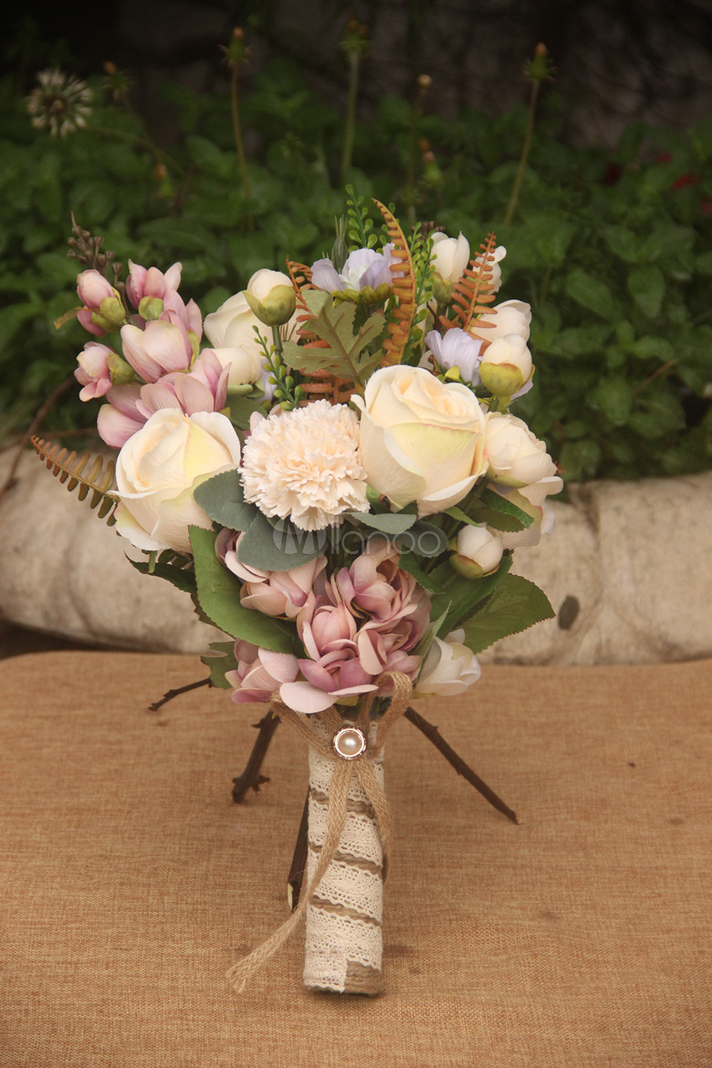 Wedding Flowers Bouquet Hand Tied Bows Jeweled Bridal Silk Flowers