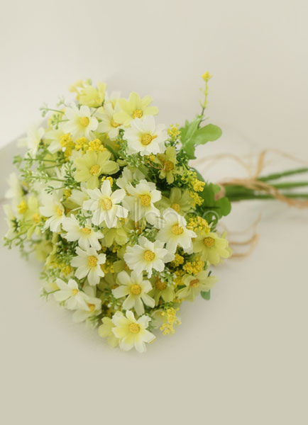 Buy Daffodil Wedding Flowers Bridal Bouquet Daisy Lace Up Hand-tied Silk Flowers for $14.99 in Milanoo store