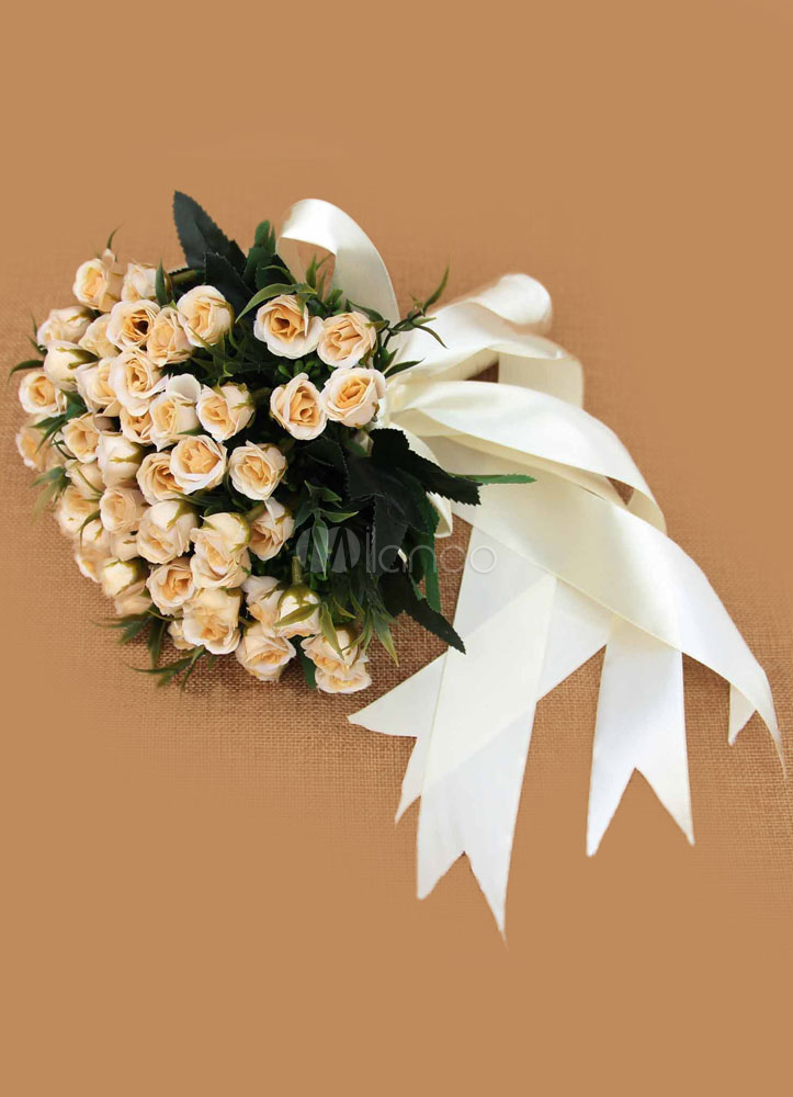 Champagne Wedding Bouquet Bridal Flowers Ribbon Hand-tied Silk Flowers