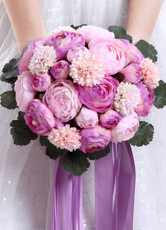 Wedding Flowers Bouquet Hand Tied Bridal Silk Flowers In Rose Red