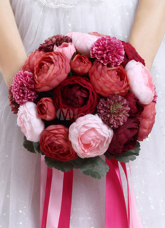 Buy Wedding Flowers Bouquet Hand Tied Bows Silk Flowers Bridal Bouquet for $29.99 in Milanoo store