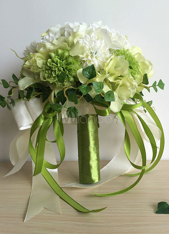 Wedding Flower Bouquet Forest Green Hand Tie Silk Flower Bridal Bouquet