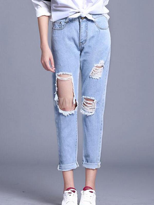 e98c3ce7b2326 Angustiada suelta ajuste del dril de algodón pantalones vaqueros pantalones  rotos mujer azules-No.